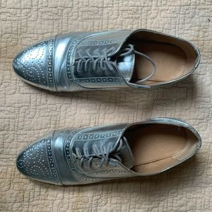 j. crew silver wingtip oxfords